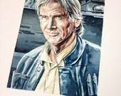 Star Wars. Original watercolour painting of Han Solo from The Force Awakens