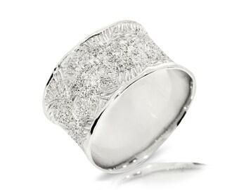 Satin Wedding Band, 14K White Gold Ring Size 8.5 White Gold Band Ring, Wedding Jewelry Gift Anniversary Gift