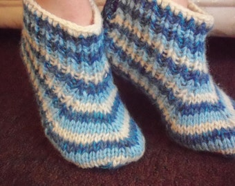 Hand knit slippers,sheep wool,mohair thick,striped bed socks,UK 4-10, USA 5-11,EU 35-45.Kozizake.