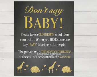 dont say baby game, don't say baby game, gold dont say baby, baby shower gold, jungle, baby shower games, baby shower activity, printables