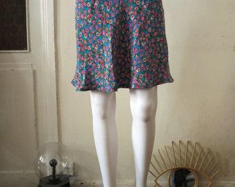 Vintage Bias Cut Millefleurs Ditsy Floral Silk highwaisted highwaist Skirt