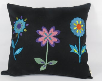 Black Pillow Cover, Embroidered Flowers, Pillow Cover Embroidered Dragon Fly, Flower Pillow, Dragon Fly Pillow, 16 X 16 Pillow Cover