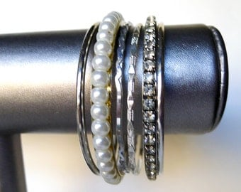 Mixed Bangle Bracelet Lot Faux Pearls Rhinestones Texture Smooth Polished Silver White, Stacking Bracelet Lot Solid Embellished Bangles Set