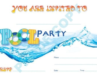 POOL PARTY INVITATIONS kids children invites