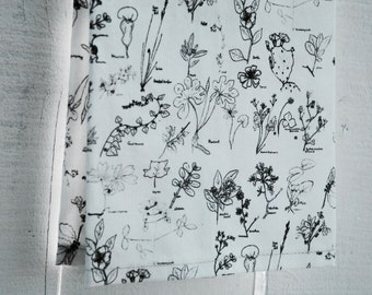 Linen Tea Towel - Botanical Sketch