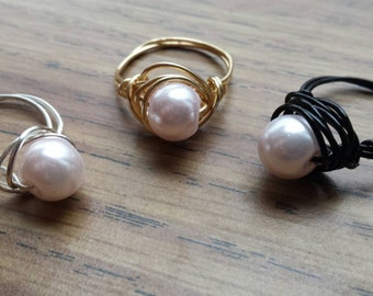 Baby Pink Pearl wire wrapped ring
