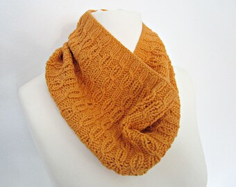 Knit eco scarf Orange knit scarf Cotton knit scarf Vegan cotton scarf Hand knit vegan scarf Cotton cable scarf Eco Friendly Halloween scarf