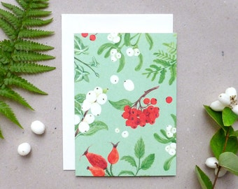 folded card with envelope / winter berries