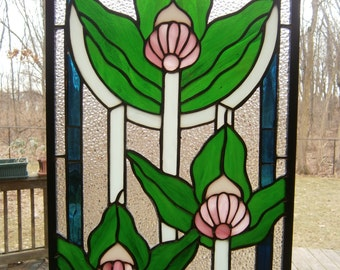 Stained glass Victorian style panel with pink flowers, 28 x 10