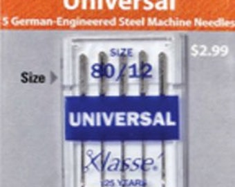 Klasse Needle Universal 80/12 Package of 5 Cards  Bundle Package