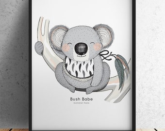 Bush Babe - Australian Koala Nursery Print