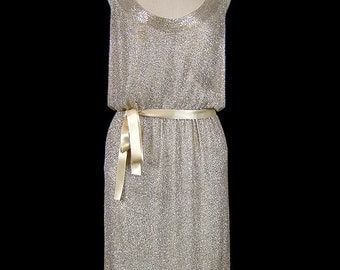 Norman Norell dress, glass beaded sleeveless tank dress, heavily beaded couture gown, metallic silver gold beaded silk