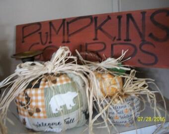 handmade Stuffed Fabric Pumpkins Fall Decor 3-pc set WELCOME FALL Thanksging Decor CABIN/Lodge/Home decor