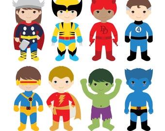 Boys Superhero Costumes Clipart 2, Boy Superheroes, Superheroes Clipart