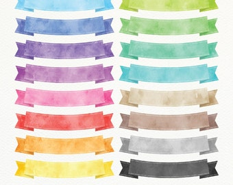 Watercolor Ribbon Banners Clipart