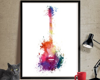Funky Guitar Art, Music Art, Music wall art, Watercolor Painting, Watercolor art, Wall art print, wall hanging, music decor poster (259)