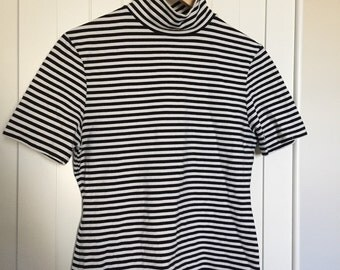 90s Black And White Striped Turtleneck Top
