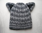 Wool Tabby Striped Toddler Hat - hand knit