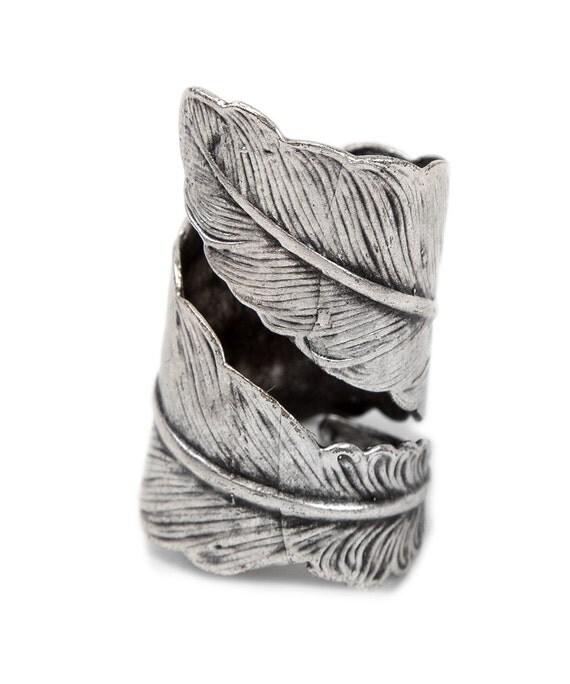 Boho Feather Twist Ring