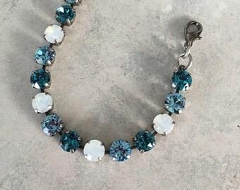Blue and opal swarovski crystal bracelet