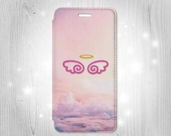 Cute Angel Wings iPhone 6S 6 Plus 6+ SE 5 5S 5C 4 Samsung Galaxy S7 Edge S6 Edge Plus S5 Note 5 4 Leather Flip Case
