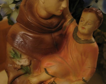 Statue of St - Anthony of Padua plaster made in Italy mid century.
