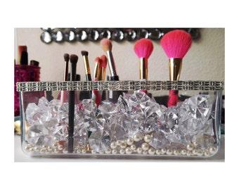 Large Make up Brush Holder Crystals, Diamonds & Pearls