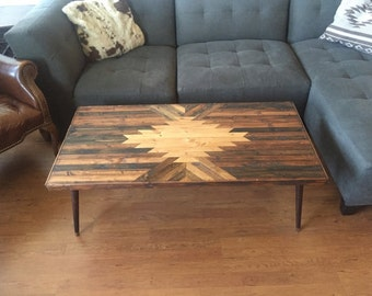 ORIGINAL TABLE Navajo Aztec Native Boho Southwestern Mid-Century Coffee Table Wood Art