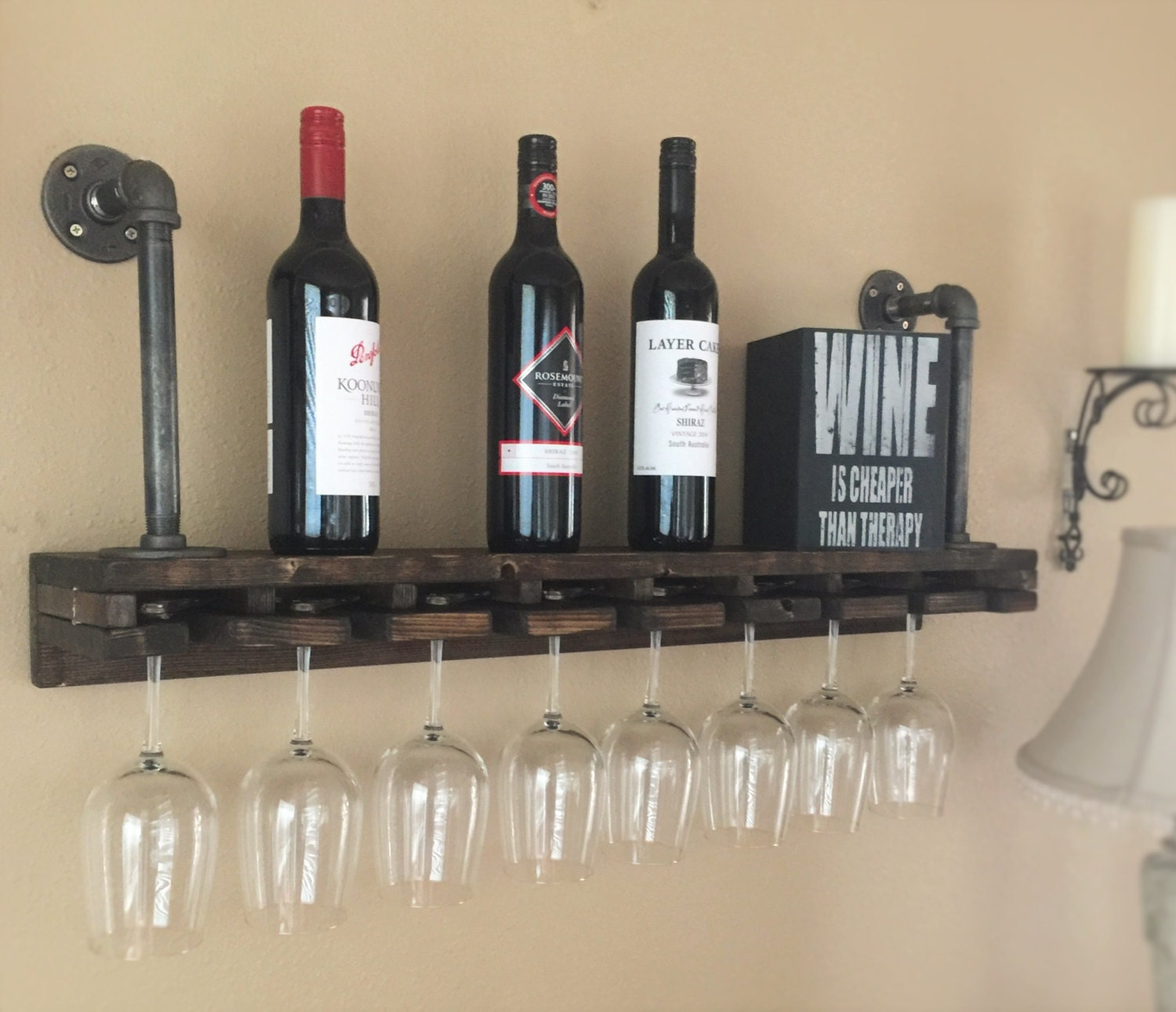 Industrial wine glass wood amp iron pipe shelf industrial