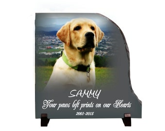 Dog Memorial Stone Slate, Pet Memorial Gift, Your paws left prints on our hearts pet plaque, personalized pet