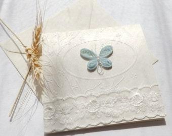 Handmade unique baby shower invitation/Butterfly invite/Elegant white lace invitation/Christening invitation/Butterfly wedding invitation