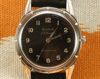 Bulova 23 Jewel Black Dial Vintage Watch
