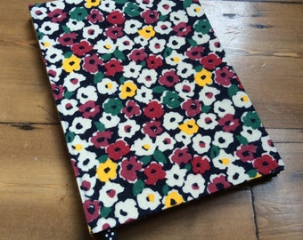 Hardback A5 Journal, Covered in an Abstract Floral Fabric