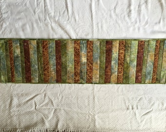 Green and brown batik table runner (Maine Made)