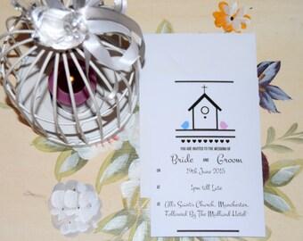 Birds Wedding Invitation. Love Birds Theme.
