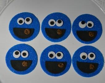 Cookie Monster, Sesame Street,  Fondant Topper, Cookie, Cookie Monster Cupcake, Sesame Street Party, Blue, Fondant