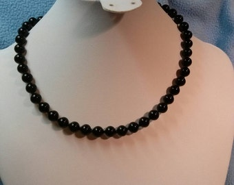 Monet Black Glass Bead Choker/ Necklace~ a Classic Beauty, Hand Knotted!