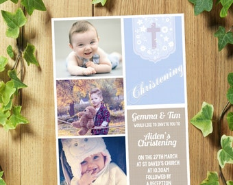32 Personalised Christening Baptism Invitations Invites/Thank You Cards for Boy or Girl