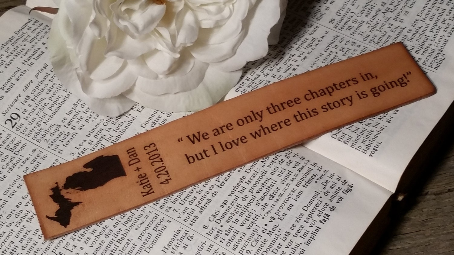 What Is 3rd Wedding Anniversary Gift: 3rd Wedding Anniversary Custom Engraved Leather Bookmark