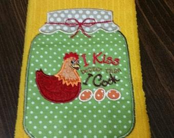 Appliqued Mason Jar dish towel