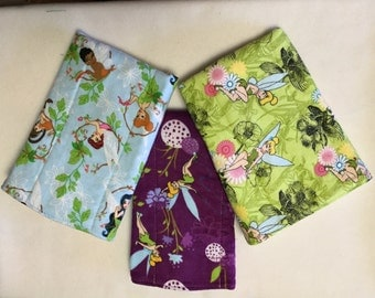 Burp cloths, Fairies, set of 3, Tinkerbell, diaper cloth, baby, gift