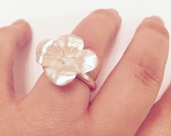Silver Cherry Blossom ring