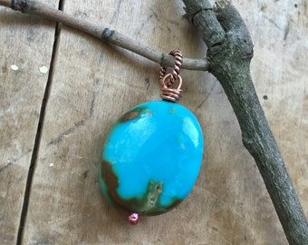 Kingman turquoise, charm necklace, southwestern, copper necklace, natural Turqoise, mexico