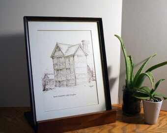 Framed drawing of Queen Elizabeth's Lodge in Chingford - by Freda Titford (1972)