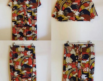Vintage 1970's Two Piece Skirt and Top