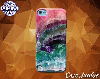 Quartz Crystal Teal Aqua Pink Purple Cute Tumblr Rubber Case For iPod Touch 4th Generation or iPod Touch 5th Gen or iPod Touch 6th Gen