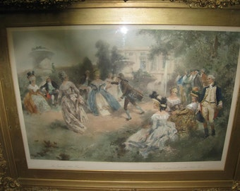 Antique V de Paredes Photolithograph Lithograph Summer Entertainment at the Petit Trianon 1907 Framed