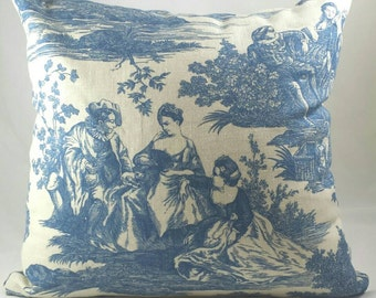 French Toile Pillow Cover. Blue design on ivory background