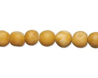 "Yellow Bead, Yellow Marble Bead, Ochre, Primitive Bead, Mustard Yellow, 6 to 7mm Hand Cut Bead, 15"" strand, D612"