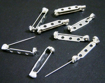 Brooch Pin Back, Silver pin back, Sew or Bond 1 inch, 8 each, D180
